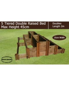 45cm High 5 Tiered Double Raised Beds - Blackdown Range - 50cm Wide
