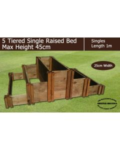 45cm High 5 Tiered Single Raised Beds - Blackdown Range - 50cm Wide