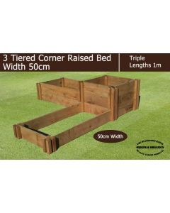 50cm Wide 3 Tiered Corner Raised Bed - Blackdown Range