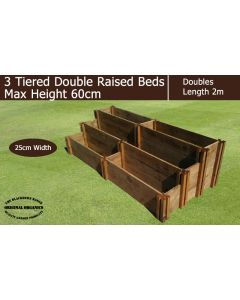 60cm High 3 Tiered Double Raised Beds - Blackdown Range - 100cm Wide