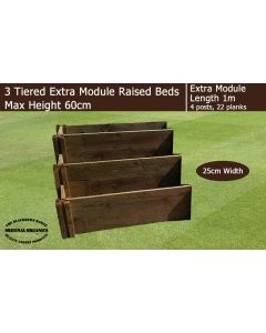 60cm High 3 Tiered Raised Beds Extra Module - Blackdown Range - 25cm Wide