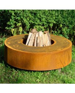 Corten Steel Round Fire Table 1750 x 280