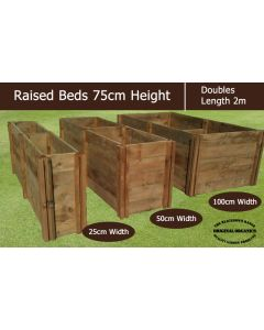 75cm High Double Raised Beds - Blackdown Range - 50cm Wide