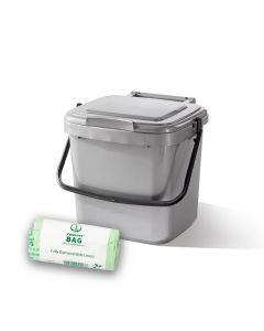 7ltr Silver Kitchen Caddy + 26 Pack of Liners