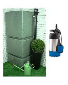 800L Rainwater Tank in Marble Green - Filter & Pump