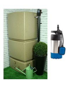 800L Rainwater Tank in Sandstone - Filter & Pump