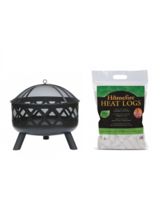Round Black Fire Pit with Heat Logs