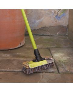 "National Trust  9"" Bassine Deck Patio Scrubbing Broom With Scraper FSC Wood"