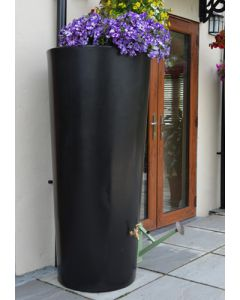 380 Litre Garden Planter Water Butt Black with Tap Kit & Diverter