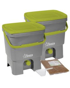 Bokashi Organko Compost Bin Set (2 x 16L) Grey-Lime with 2kg Bokashi Bran