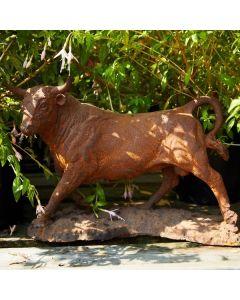 Cast Iron Miniature Bull Statue - Rust