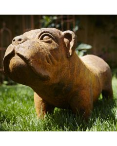 Cast Iron Bulldog Statue - Rust
