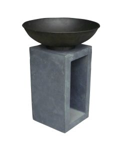Metal Fire Bowl With Hollow Console Outdoor Heating - Medium