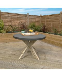 Round Concrete & Wood Dining Table