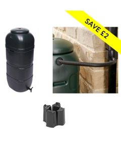 100L Slimline Space Saver Water Butt with Stand & Standard Diverter Kit