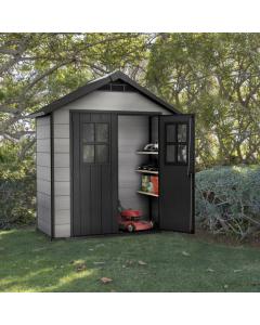 Keter Oakland Outdoor Plastic Garden Storage Shed, 7.5 x 4 feet - Grey