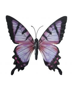 Large Lilac Pink and Black Butterfly Garden Ornament