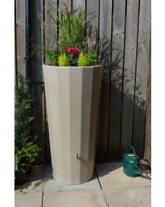 255L Metropolitan Water Butt with Planter in Antique Stone
