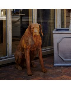 Sitting Rhodesian Ridgeback Cast Iron Statue in Rust