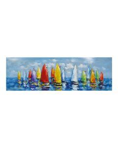 Sailboats at Sea - Small 3D Metal Art on Wood Canvas