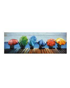 Small Umbrellas - 3D Metal Art on Wood Canvas
