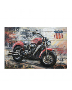 American Cruiser 3D Metal Art on Wood Canvas