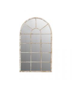 Antique Metal Segmented Arches Top Garden Mirror
