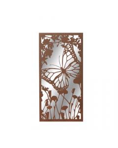 Portrait Rusted Metal Butterfly Garden Mirror