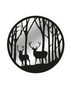 Black Metal Round Forest with Stag Silhouette Mirror