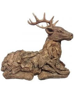 Wood Effect Stag (Made From Frost Proof Polyresin)