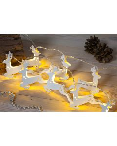 White Metal Reindeer Light Chain with 20LEDs