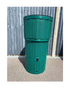 150L Rattan Wicker Effect Polybutt Water Butt - Green