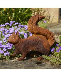 Cast Iron Foraging Squirrel Statue - Rust