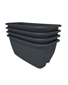 Rainwater Terrace 4 Pack Planter Kit - Black (4 Planters & 4 Capillary Mats)