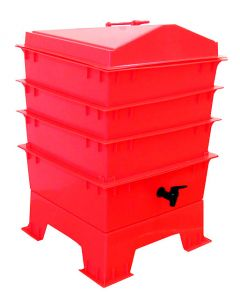 4 Tray Standard Pet & Dog Poo Wormery Electric Red