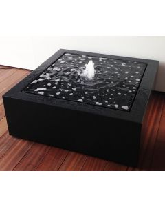 Dark Grey/Black Square Aluminium Water Table with Pump & LEDs 120 x 120 x 40cm