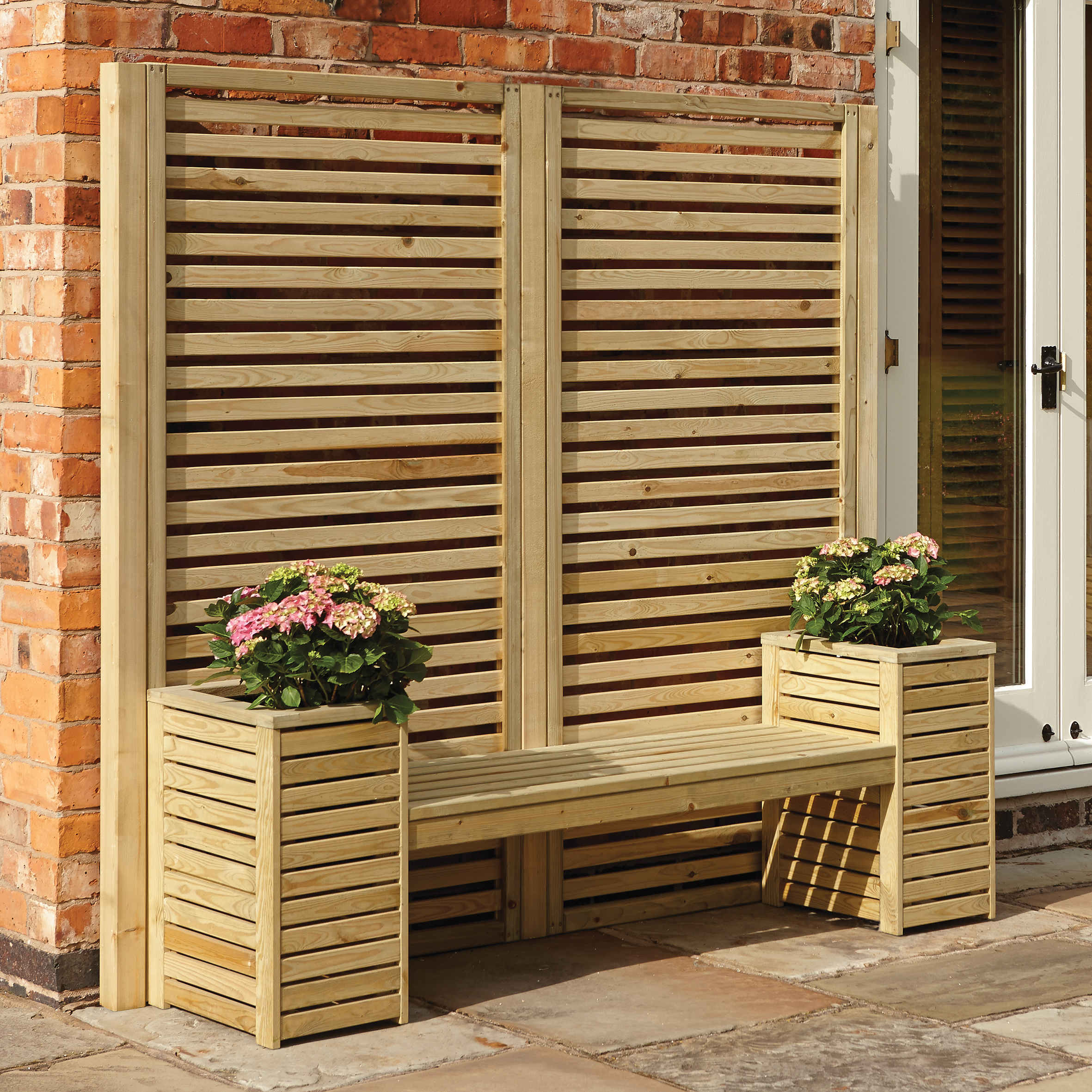 Wooden Seat & Planter Set
