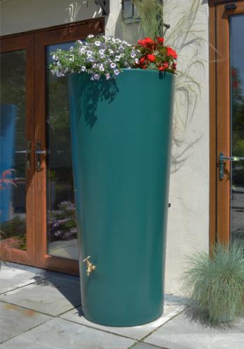 380L Garden Planter Water Butt Green with Tap Kit & Diverter