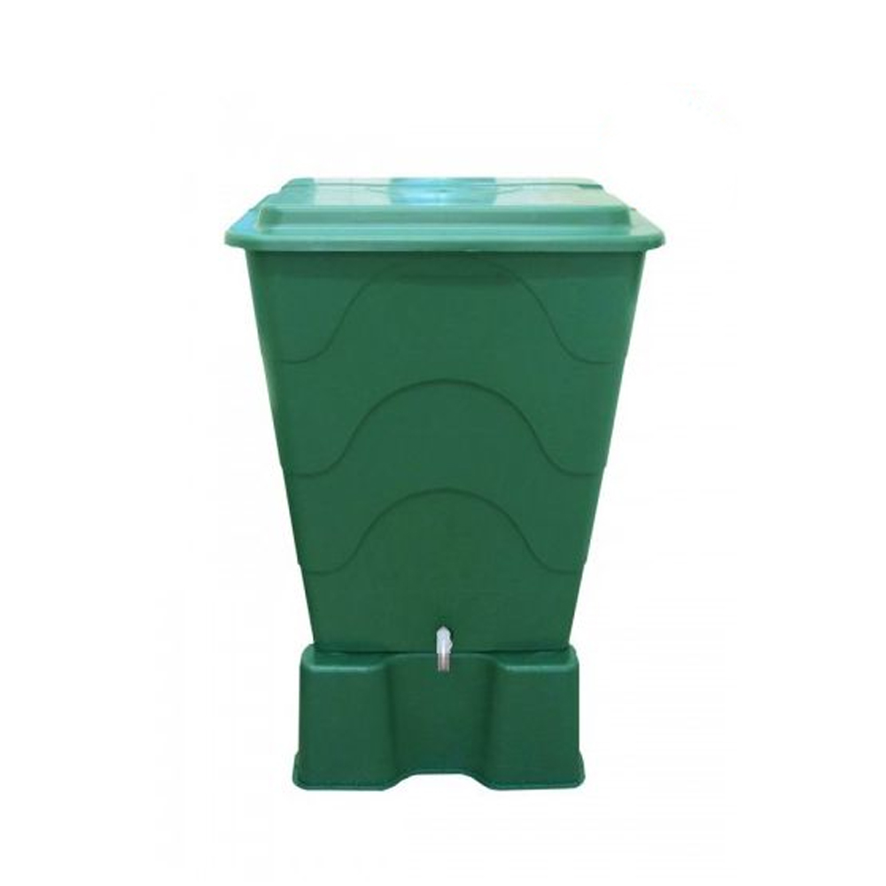 300L Green Water Butt With Tap and Lid