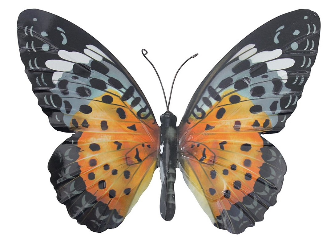 Large Metal Butterfly Orange and Black Garden Ornament