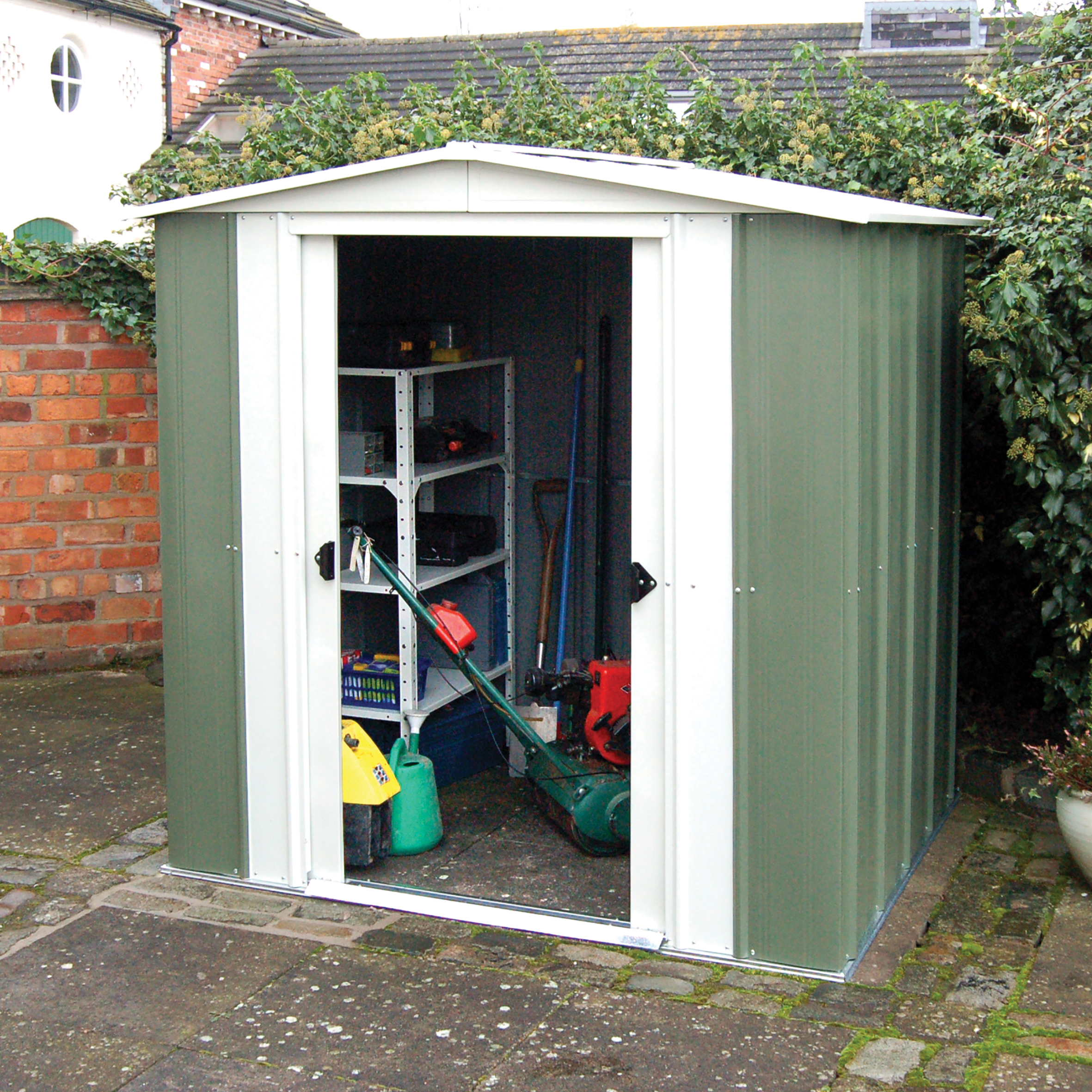 Rowlinson 8 x 6 Greenvale Metal Apex Shed With Floor