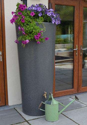 380L Garden Planter Water Butt Millstone Grit with Tap Kit &