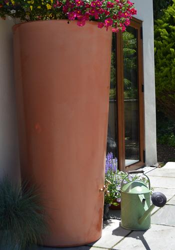 380L Garden Planter Water Butt Wash Terracotta with Tap Kit & Diverter